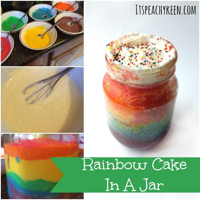 Rainbow Cake Baked In A Jar - It's Peachy Keen